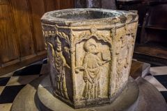 Bakewell, All Saints Church, The beautifully carved 14th century font
