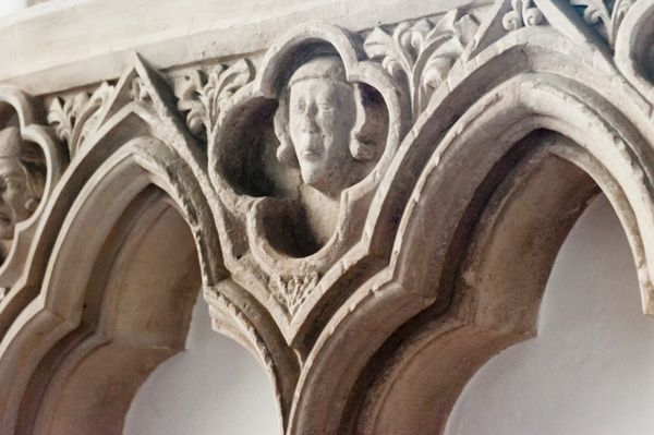 Bampton, St Mary's Church photo, Carved head on the sedilia