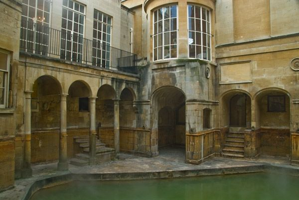 The Roman Baths photo, The Pump Room stands at one end of the Baths
