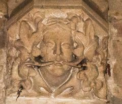 Battlefield, St Mary's Church, Green man corbel head in the nave