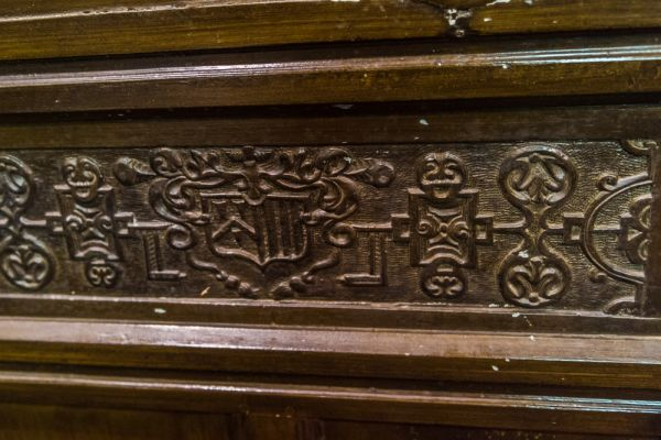 Beauchief Abbey photo, Box pew carving