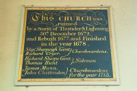 Benenden, St George's Church, Dedication tablet