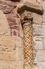 A carved Norman pillar outside the castle entrance