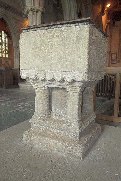 Berkeley, St Mary's photo, The Norman font