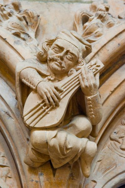 Medieval carving of a musician, Beverley Minster