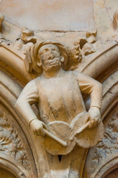 Beverley Minster photo, Medieval carving of a drummer