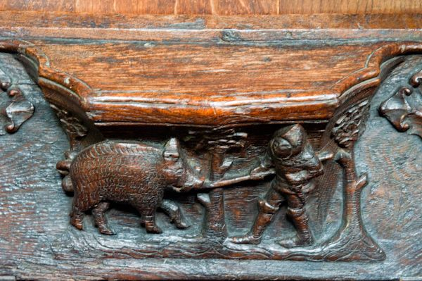 Beverley, St Mary's Church photo, Misericord of boar hunting