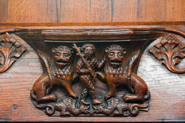 Beverley, St Mary's Church photo, Misericord of lions and woodwose
