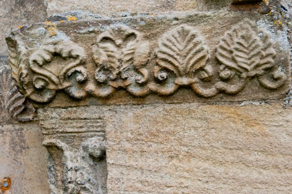 Bibury, St Mary's Church photo, Palm leaf carvings, north doorway