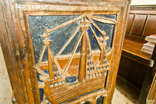 Bishops Lydeard, St Mary's Church photo, Another of the bench ends, this one depicting a sailing ship