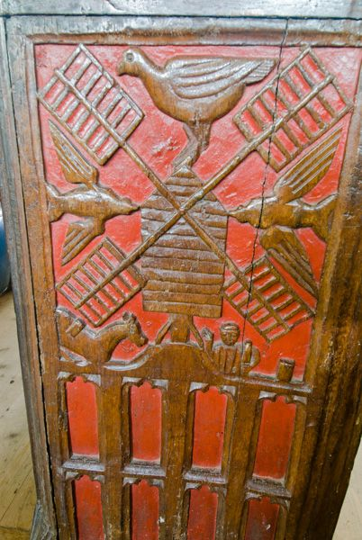 Bishops Lydeard, St Mary's Church photo, Carved bench end showing a windmill