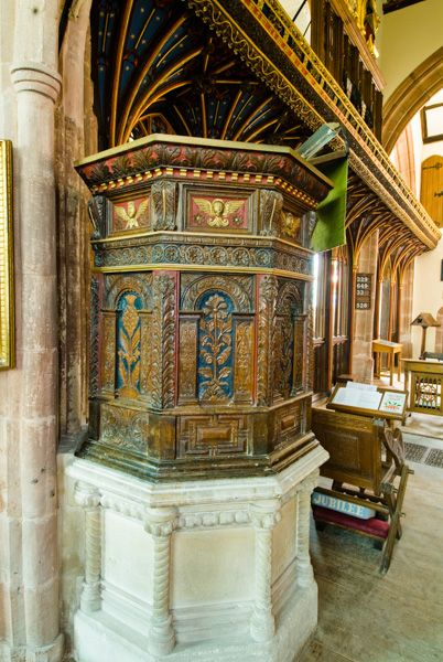 Bishops Lydeard, St Mary's Church photo, The beautifully crafted Jacobean pulpit