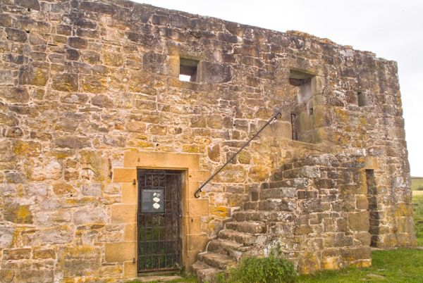 Black Middens Bastle House photo, Stair to the first floor entrance