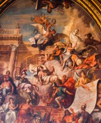 The entrance hall ceiling, by John Thornhill