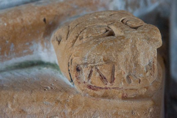 Bosham, Holy Trinity Church photo, Carved serpent face 2