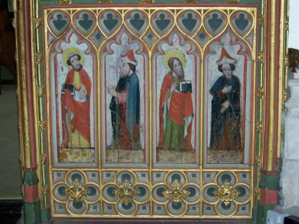 Bovey Tracey photo, The parish church's early 16th century rood screen (c) Trish Steel