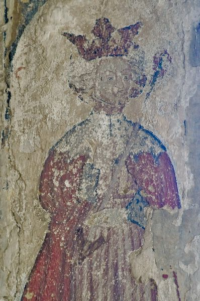 Boxford, St Mary's Church photo, Wall painting of a king