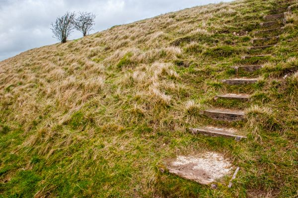 Bratton Camp photo, Stairs up the outer earthworks