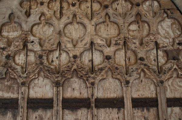 Brent Eleigh, St Mary's Church photo, South door carvings