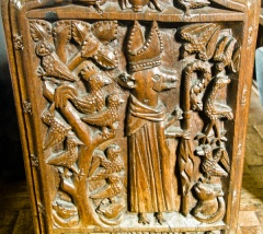 Bench end of an abbot dressed as a fox