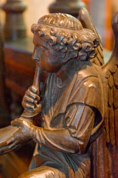 Bridlington Priory photo, Pew end carving