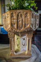 Broadhembury, St Andrew's Church, Another view of the font