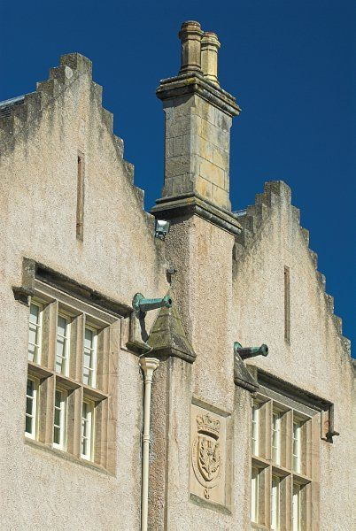 Brodie Castle photo, Double gable with family crest