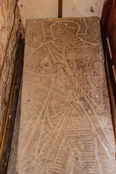 Bromyard, St Peter's Church photo, Incised grave slab of a knight