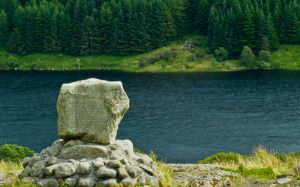 Bruce's Stone, Glentrool, The Stone with Loch Trool