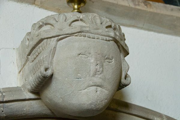 Buckland, St Mary photo, Medieval carved head
