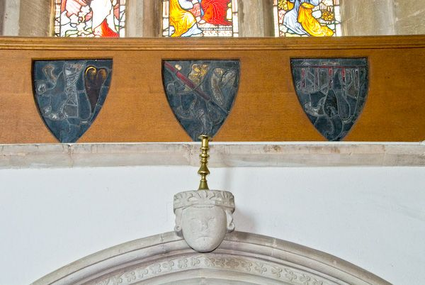 Buckland, St Mary photo, 14th century shields