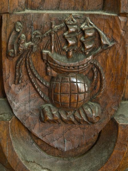 Buckland Monachorum photo, Golden Hind carving on Drake's pew