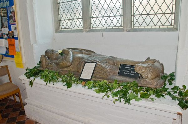 Bures, St Mary's Church photo, 14th century wooden effigy