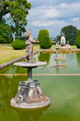 Garden pool and statues