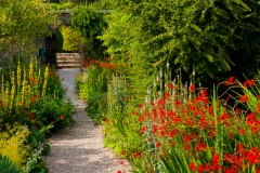 Colourful garden walk at Burton Agnes