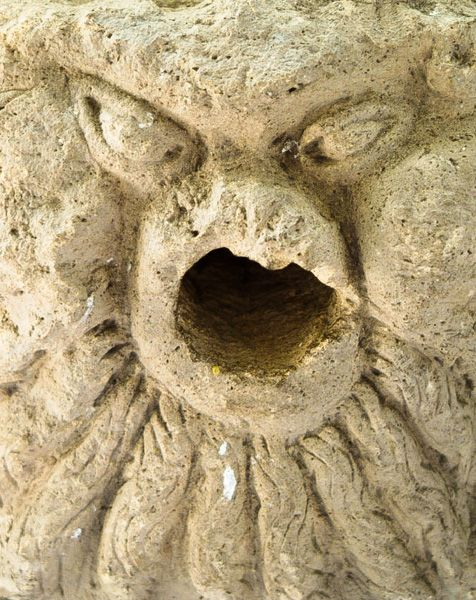 Byland Abbey photo, Fierce animal head carving detail