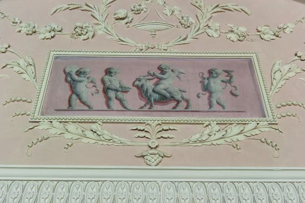 Calke Abbey photo, 18th century wall decoration