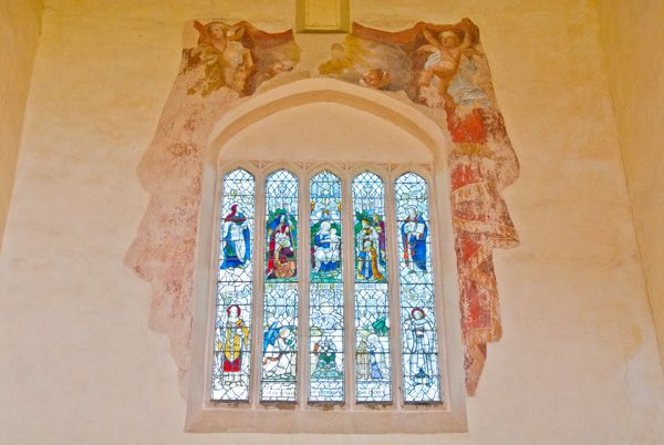 Canons Ashby Priory photo, The east window and 1710 wall paintings
