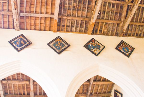 Canons Ashby Priory photo, Dryden hatchments over the nave arcade