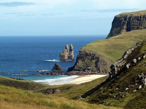 Cape Wrath photo, Kearvaig beach and Cathedral Rock (c) Clive Nicholson