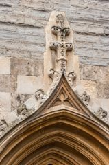 Crocketing detail over a doorway arch