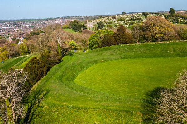 Carisbrooke Castle photo, The Bowling Green from the keep