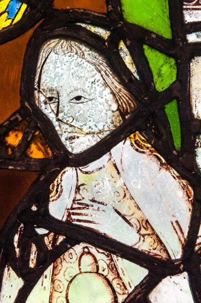 Carlisle, St Cuthbert's Church photo, 14th century stained glass detail