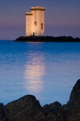 The last light of day hits the lighthouse