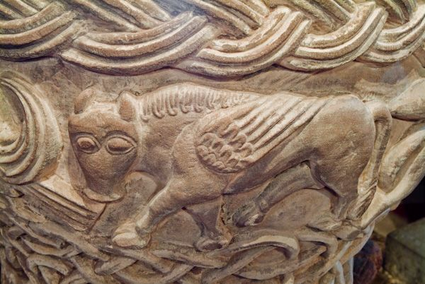 Castle Frome, St Michael's Church photo, Winged bull carving