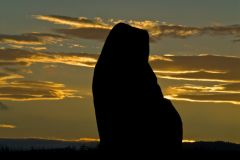Sunset, silhouetted stone