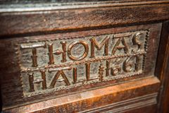 1661 carving on a box pew