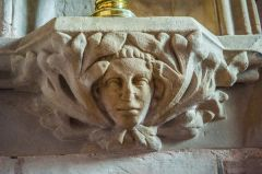 14th century carved face, chancel niche