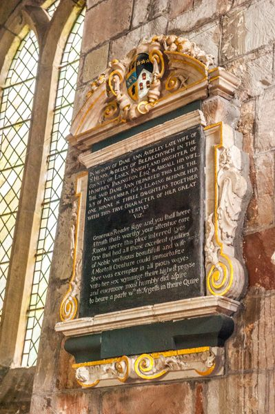 Chaddesley Corbett, St Cassian's Church photo, Dame Anne Audley memorial, d. 1642