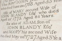18th century Blandy memorial tablet